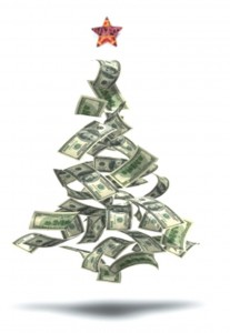 picture of Christmas tree made of money