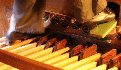 Foot pedals on an organ