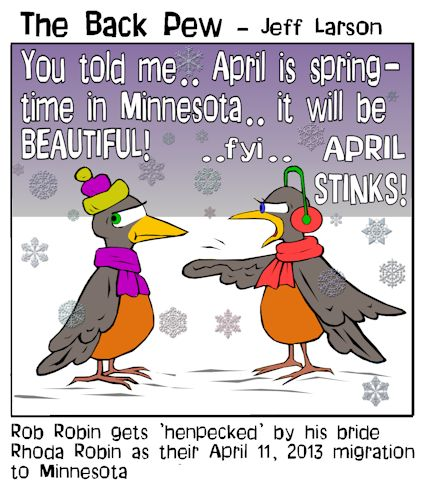 Robins in the Snow - April Mn | Backpew | Cartoons ...