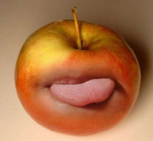 Funny Pictures of Apple With Tongue