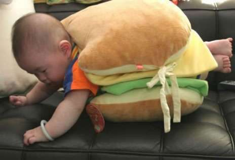 Funny Pictures of Baby in Hamburger Costume