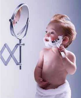 Funny Pictures of Toddler Shaving before Daycare