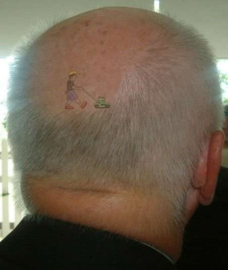 Funny Pictures of Lawn Mover Tatoo on Balding Scalp