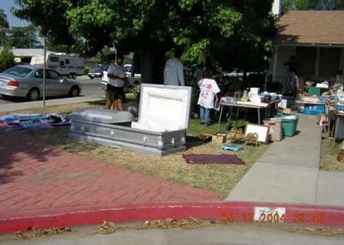 Funny Pictures of Coffin At Yard Sale