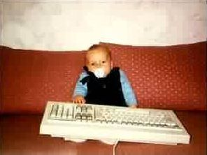 Funny Pictures of Baby with Huge Keyboard
