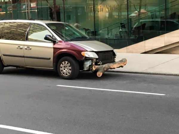 car with log bumper