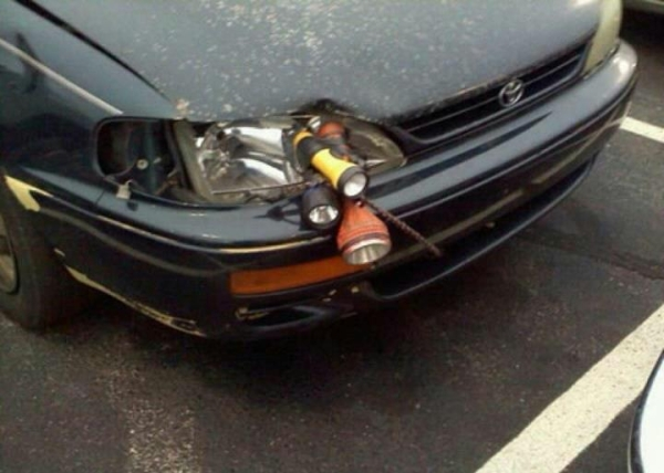 funny picture of a repaired headlight