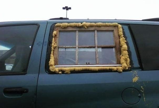 A funny car window repair picture
