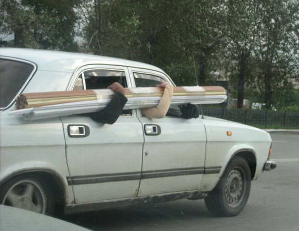 Funny car picture of human cargo rack