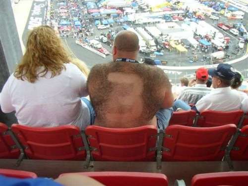 Funny Pictures of Nascar Fan with #3 Shaved in Back Hair