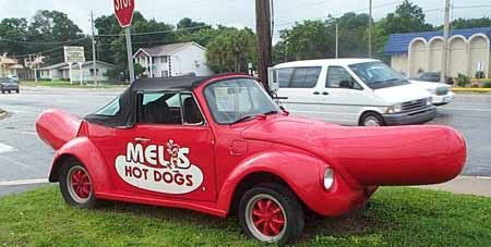 Funny Pictures of Volkswagen Bug that Looks Like a Hot Dog.
