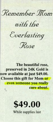 Funny Pictures of Ad Selling Diamonds For Mom