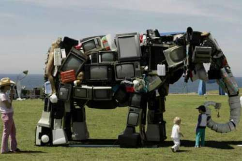 Funny Pictures of Elephant Made of TVs