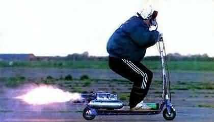 Funny Pictures of a Jet Powered Scooter