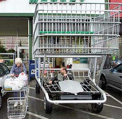Funny Pictures of Man Driving A Shopping Cart