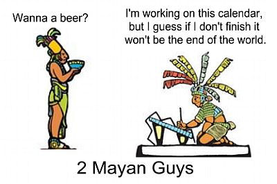 cartoon of Mayan calendar creator