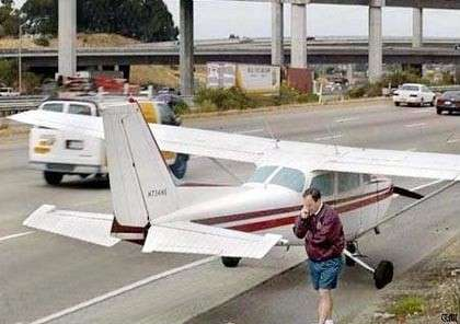 Funny Pictures of Cessna Parked At Side Of Highway