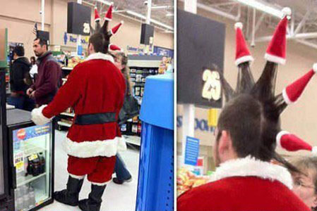 Picture of Punk Santa at Walmart