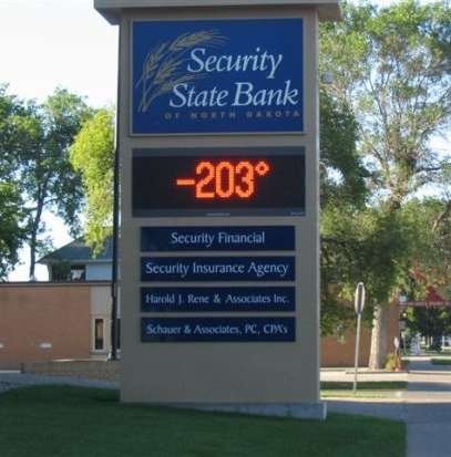 Funny Pictures of Bank -203 Degrees Temperature Sign