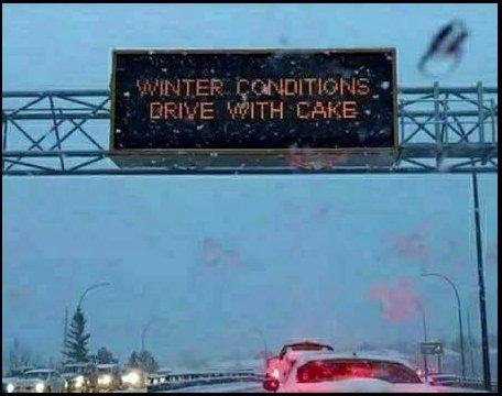 A funny winter driving warning sign