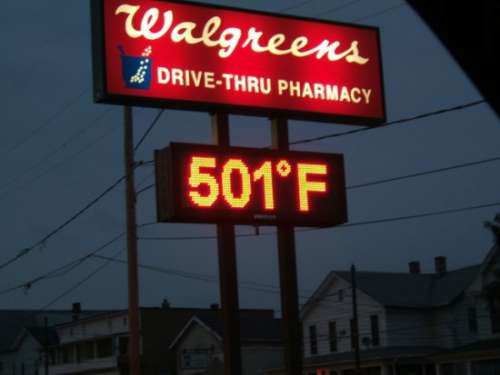 Funny Pictures of 501 Degrees Walgreen Sign