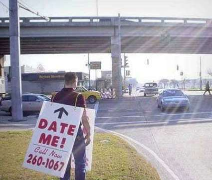 Funny Pictures of Date Me Sign Sandwich Board