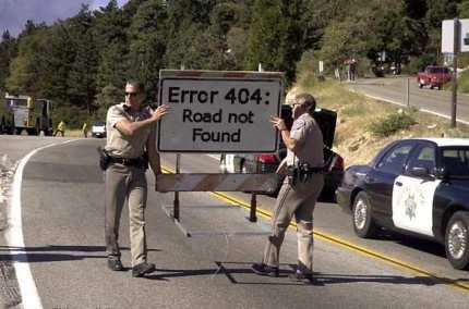 Funny Pictures of Error 404 Road Not Found Sign