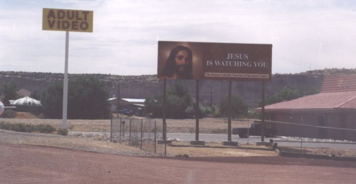 Funny Pictures of Adult Video Jesus is Watching Sign