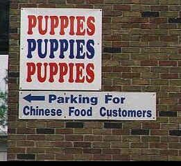 Funny Pictures of Puppies and Chinese Food Sign