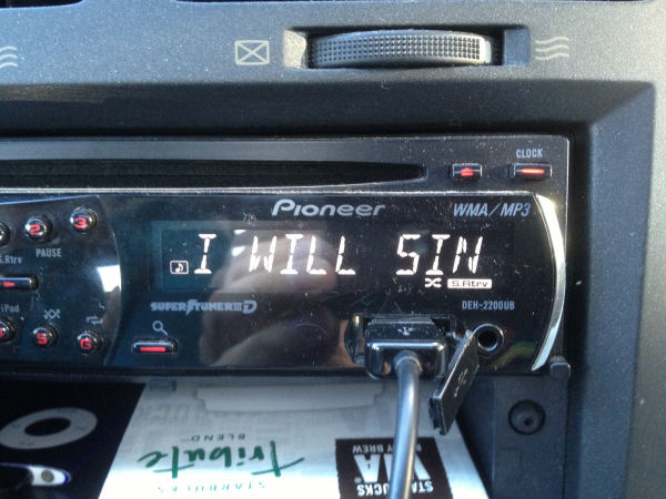 A funny song title in a church youth worker's car