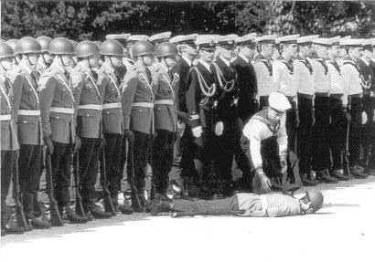Funny Pictures of a soldier face down at inspection.
