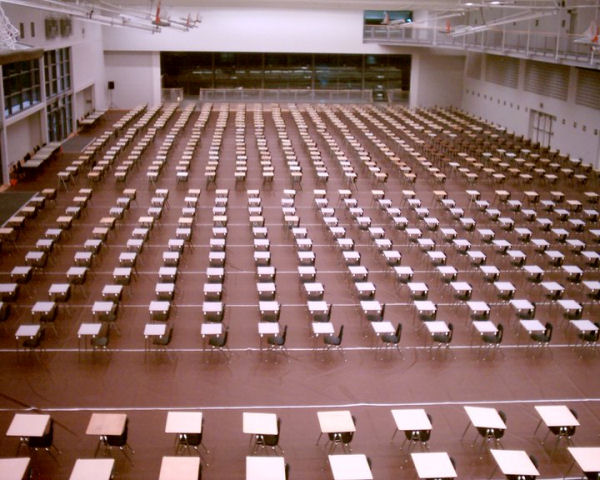 A picture of a gym at exam time.